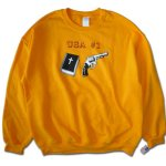 "画像1: DEAR SKATING [ディア スケーティング] ""EARLY BLIND AND VIDEO DAYS COLLECTION"" - USA #1 CREWNECK - GOLD (1)"