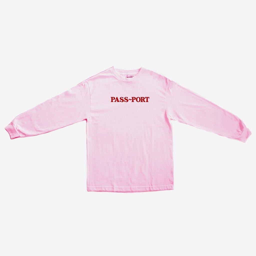 画像1: PASS〜PORT [パスポート] OFFICIAL EMBROID LONG SLEEVE TEE PINK (1)