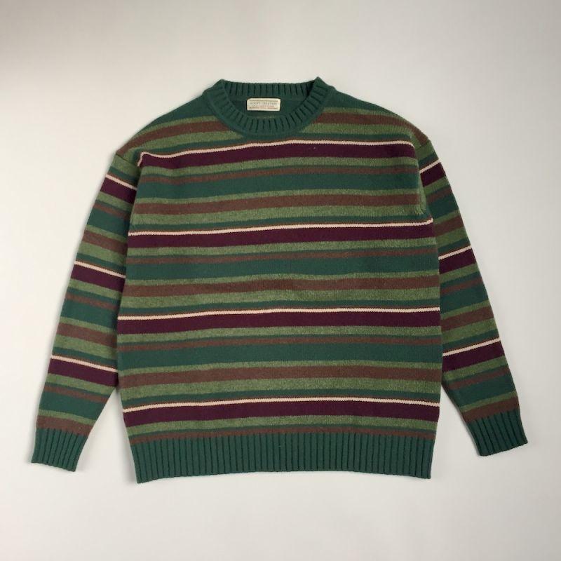 """画像1: GOOFY CREATION """"Lambs wool border knit"""" - Green (1)"""