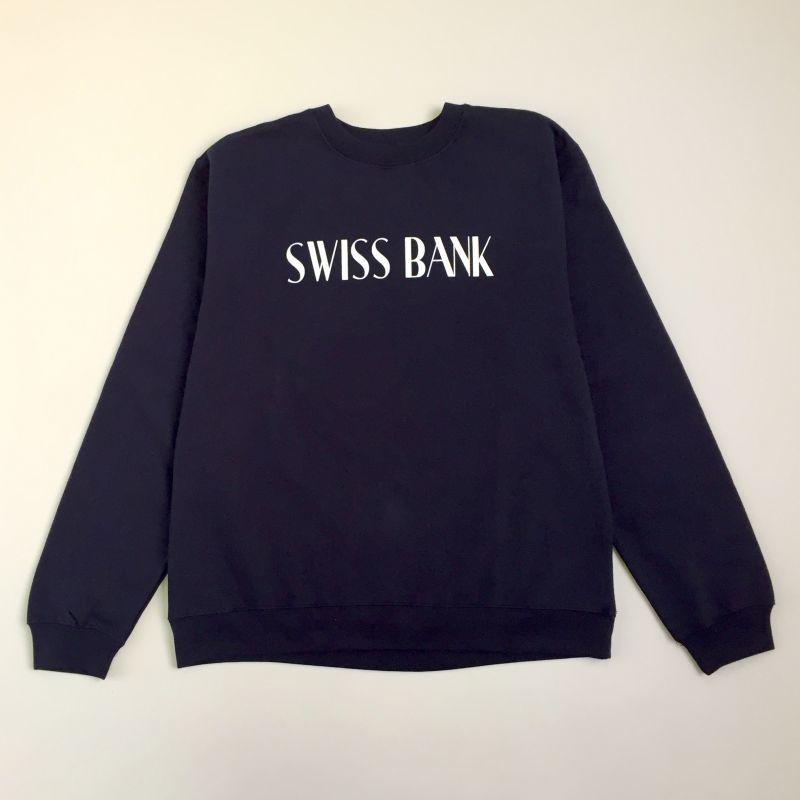 """画像1: SWISS BANK""""SWISS BANK CREW NECK""""-NAVY/WHITE (1)"""