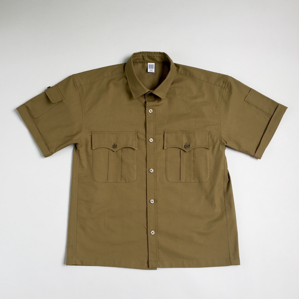 "画像1: COMFORTABLE REASON [コンフォータブル リーズン] ""PANAMA CLOTH SAFARI SHIRTS""-OCHER (1)"