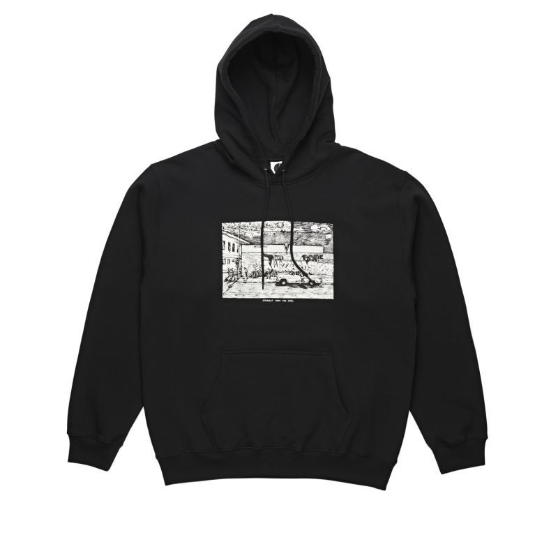 "画像1: POLAR SKATE CO. ""STRAIGHT FROM THE HOOD HOODIE"" - BLACK (1)"