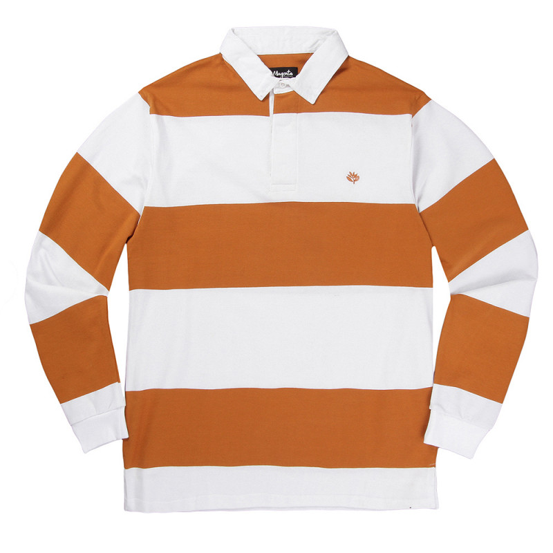 "画像1: MAGENTA  (マジェンタ) ""LS POLO RUGBY"" - WHITE / ORANGE (1)"