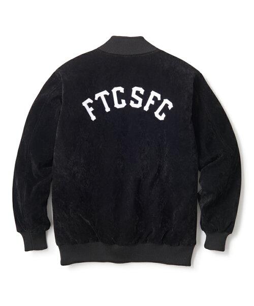 画像1: FTC [エフティーシー] SUEDE VARSITY JACKET - BLACK (1)