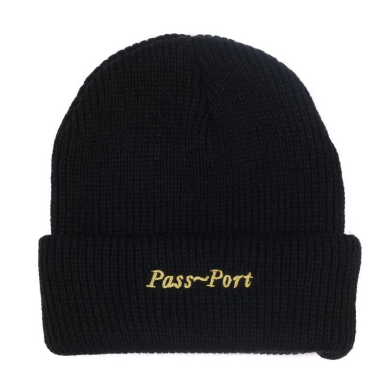 "画像1: PASS〜PORT. ""SCRIPT EMBROIDERY BEANIE"" - BLACK (1)"