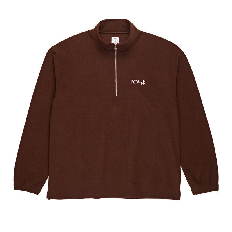 "画像1: POLAR SKATE CO. ""TERRY ZIP MOCKNECK"" - BROWN (1)"
