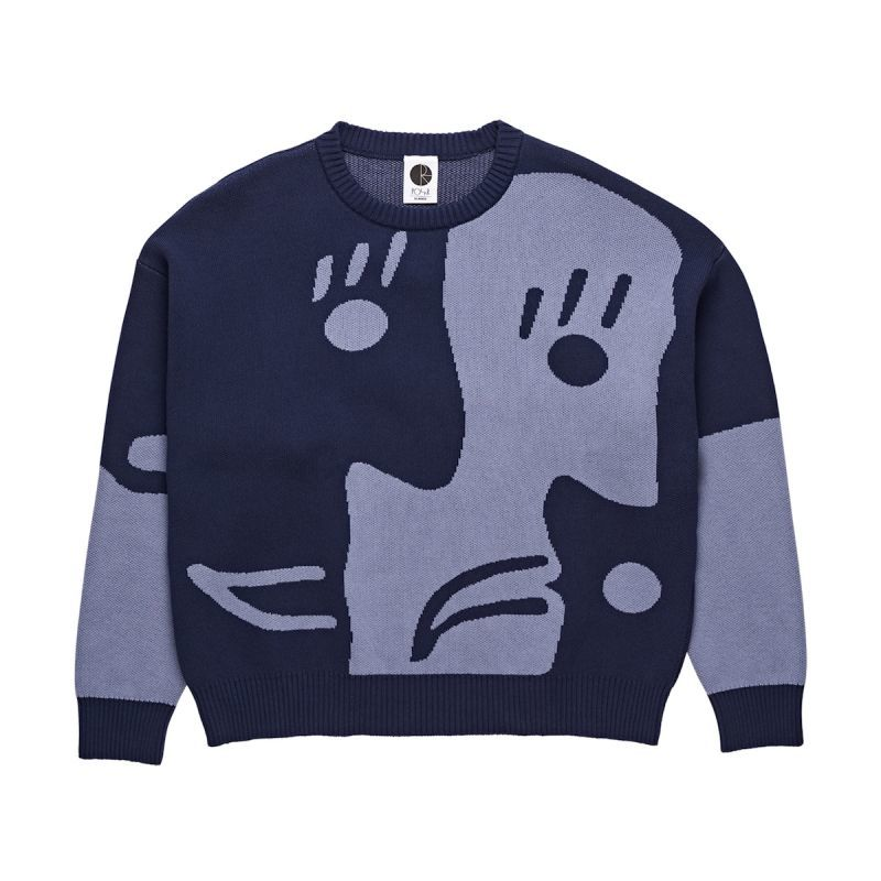 画像1: POLAR SKATE CO. [ポーラースケート]ART KNIT SWEATER BLUE (1)
