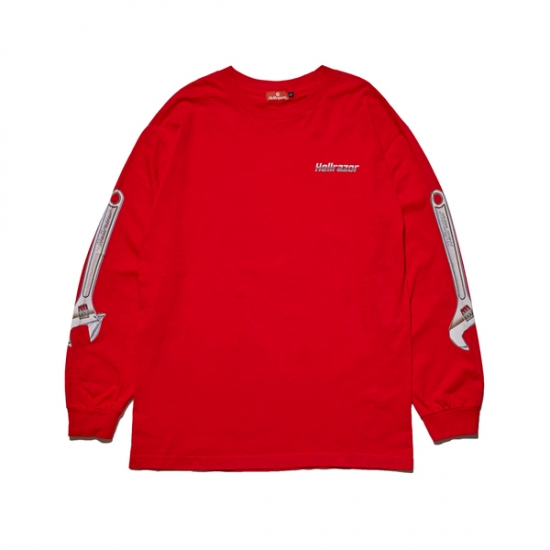 画像1: HELLRAZOR [ヘルレイザー] WRENCH ARM LS SHIRT RED (1)