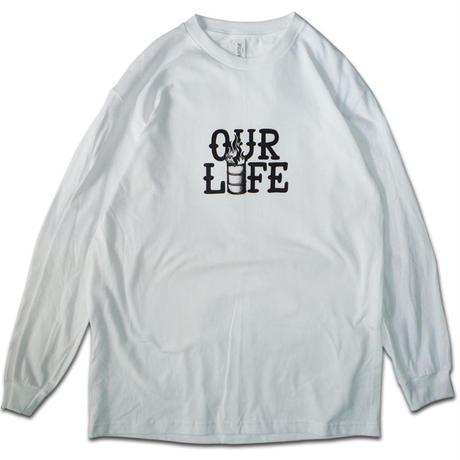 """画像1: OUR LIFE """"STACKED BARREL L/S TEE"""" - WHITE (1)"""