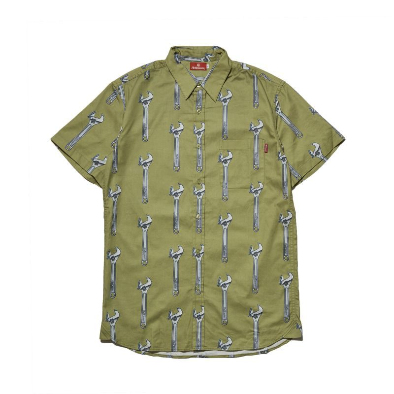 画像1: HELLRAZOR [ヘルレイザー] WRENCH BUTTON SHIRT KHAKI (1)