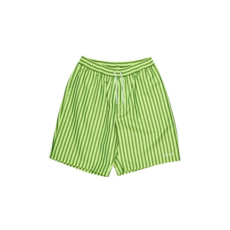 画像1: POLAR SKATE CO.[ポーラースケート] STRIPED SWIM SHORTS NEON YELLOW (1)