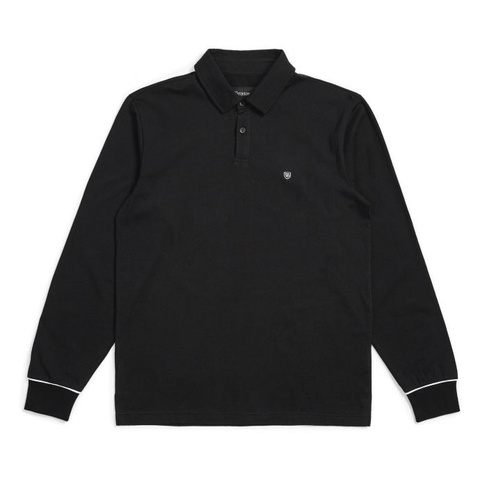 画像1: BRIXTON [ブリクストン] CARLOS L/S POLO KNIT BLACK/WHITE (1)