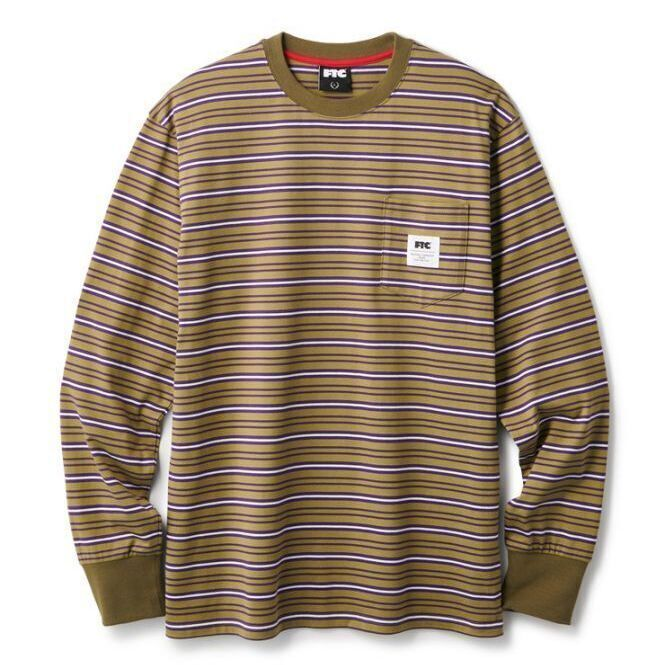 画像1: FTC [エフティーシー] MULTI STRIPE L/S TOP OLIVE (1)