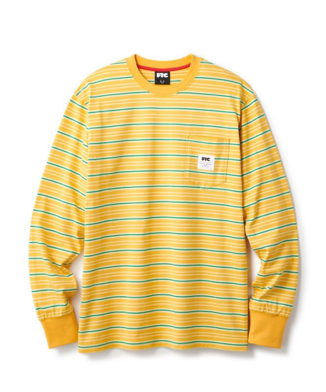 画像1: FTC [エフティーシー] MULTI STRIPE L/S TOP YELLOW (1)