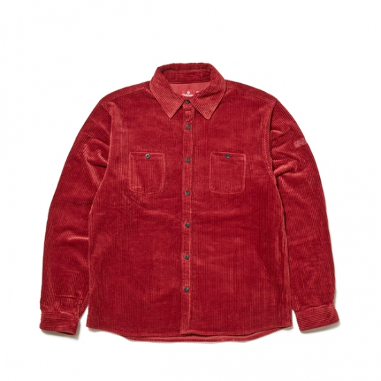"画像1: HELLRAZOR ""UNDER GROUND FORCES CORDUROY SHIRT"" RED (1)"