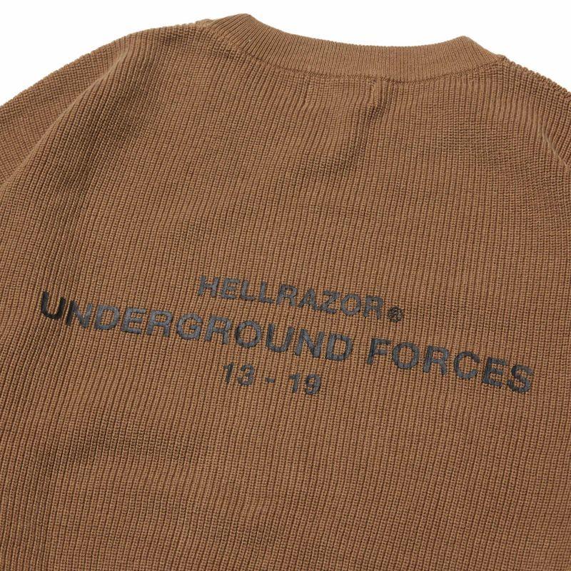 画像1: HELLRAZOR [ヘルレイザー] UNDER GROUND FORCES KNIT SWEATER - COYOTE (1)