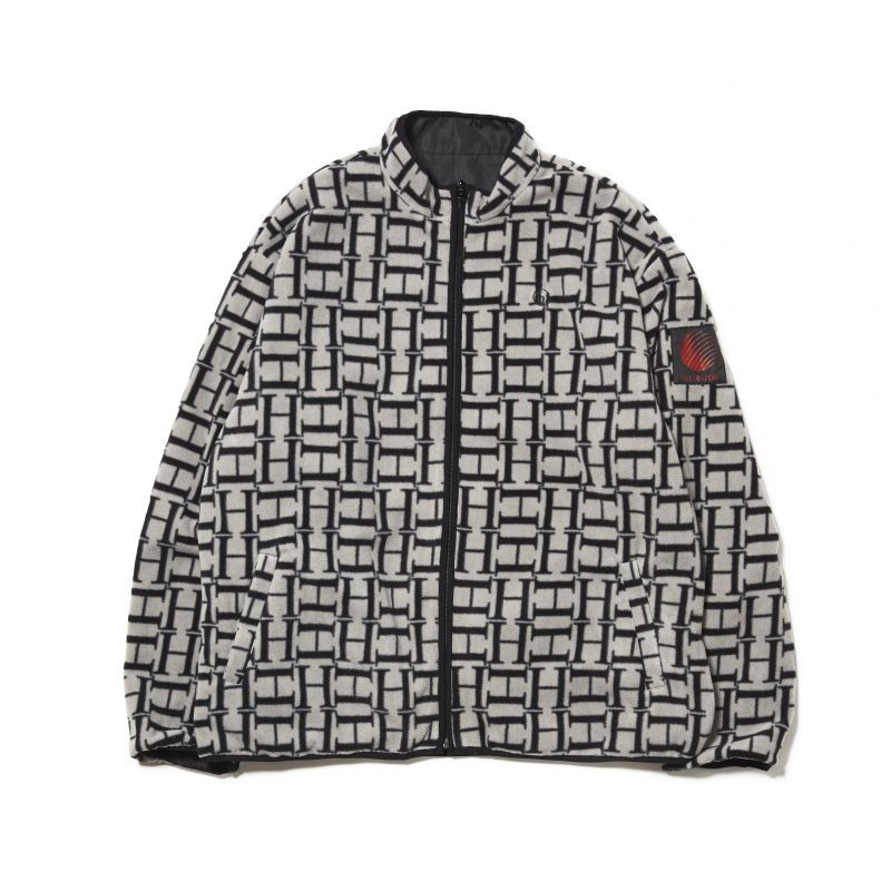 画像1: HELLRAZOR [ヘルレイザー] LOGO REVERSIBLE FLEECE NYLON JACKET - Black (1)