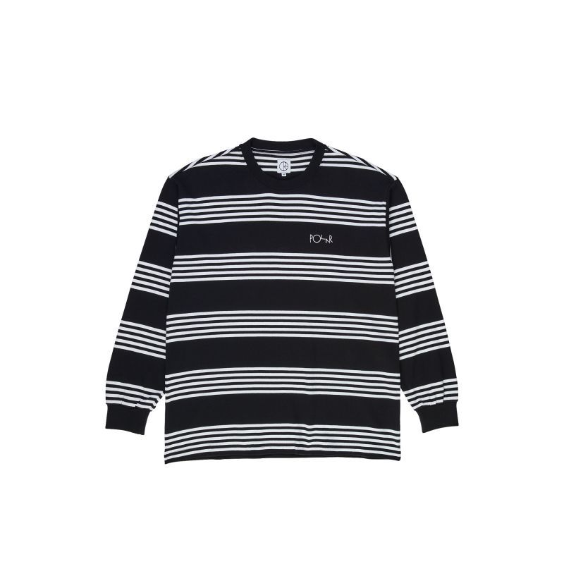 画像1: POLAR SKATE CO. [ポーラースケート] STRIPED LONGSLEEVE - BLACK (1)