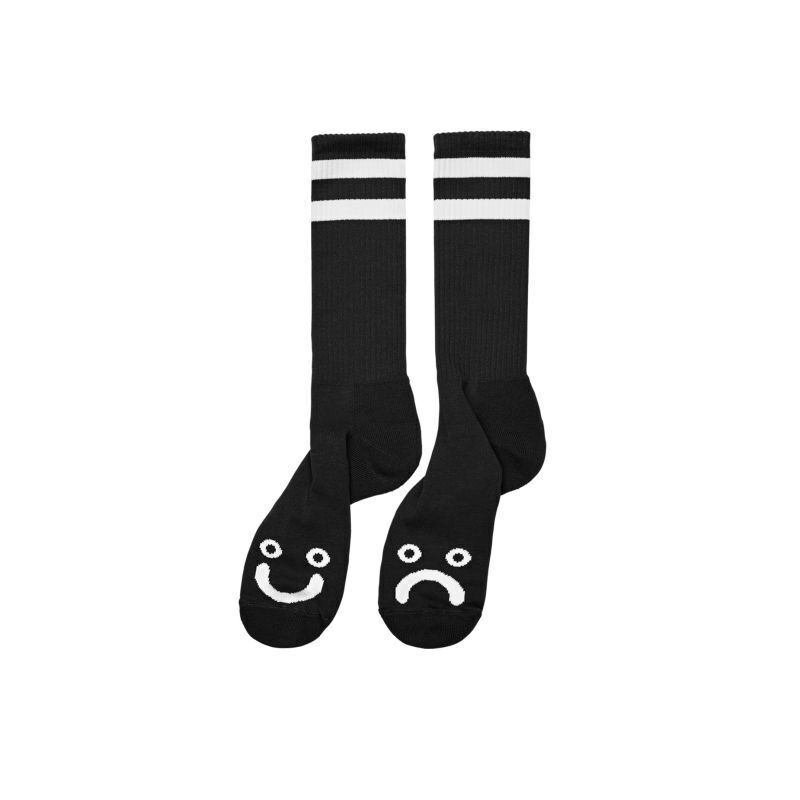 画像1: POLAR SKATE CO.[ポーラースケート] HAPPY SAD SOCKS - BLACK (1)